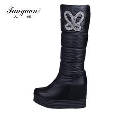 Wholesale Waterproof Wedge Winter Boots Women - Fanyuan Waterproof Snow Boots Size 43 Women Knee High Boots Wedges Heels Handmade 2018 Winter Women Fashion Shoes Brand