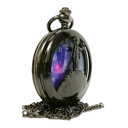 Wholesale silver mens pocket watches - Fashion Black The little Prince Hollow Color Dial Quartz Pocket Watch Analog Pendant Necklace Mens Womens Kids Gifts reloj