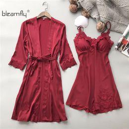 Wholesale Womens Pajamas Silk Set - 2018 New Spring Lace Two Piece Set Bathrobe Set Two Piece Nightgown Robe Sets Womens Silk Pajamas Nightwear