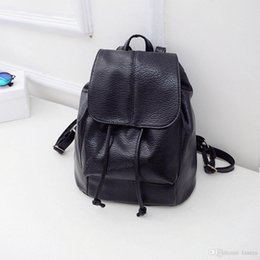 cd94f2c7cb1 Wholesale- New Fashion 2016 Black PU Women Leather Backpack School Bag  Female Travel Bags Faux Leather Vintage Daily Backpacks Casual