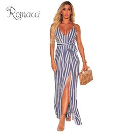 aa6f3e376b8 Romacci Sexy Women Sleeveless Striped Jumpsuit Wide Leg Split Backless  Strappy Romper for Women New Fashion Ladies Long Overalls