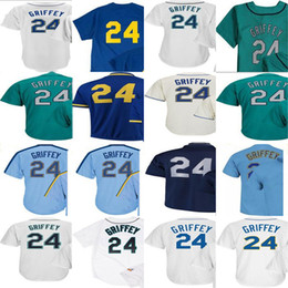 Wholesale Mens T Shirts Xxl - 2017 Mens Lady Kid Toddler Seattle 24 Ken Griffey Jr Jersey Cream Green Navy Blue White Thrownback Cheap Baseball Jersey T-shirt