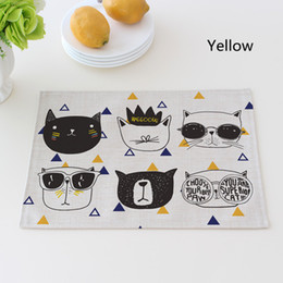 Wholesale Western Napkins - Cute Cartoon Cat Printed Table Napkins for Wedding Party Table Napkin Cloth Western Dinner Mat Home Textile Fashion Decor