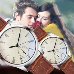 mejor correa de cuero marrón Rebajas Mujeres de moda reloj analógico casual correa de cuero marrón pareja relojes mejor opción para la pareja Mujeres
