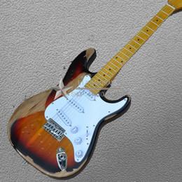 Tastiera smerlata color tigre fumè Fai vecchia chitarra elettrica Retrò reliquie ST Immagine colpo reale è possibile scegliere più immagine da mouse elettrico fornitori