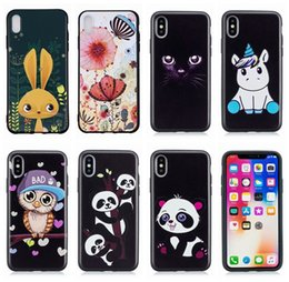 Per Iphone XR XS MAX X 10 8 7 Plus 6 SE 5 5S Fashion Emboss TPU morbida Custodia Leopard Tiger Panda Unicorn Owl Cute Cartoon Phone Black Gel Cover da cassa del telefono del gufo del fumetto fornitori