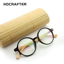 Argentina HDCRAFTER Redondo de Madera Gafas de Bambú Hombres Retro Gafas Ópticas Marco Espectáculo Marcos Mujeres Accesorios Para Hombre 2018 Suministro