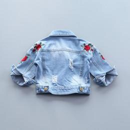 Yorkzaler Bébé Filles Denim Veste 2018 Mode Enfants Survêtement Fleurs De Broderie Jeans Manteaux Pour Fille Enfants Automne Vêtements ? partir de fabricateur