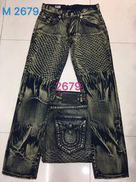 Wholesale Good Rocks - Free Shipping Good quality NEW hot Men's Robin Rock Revival Jeans Crystal Studs Denim Pants Designer Trousers Men's size 30-40