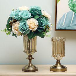 Wholesale antique brass bucket - Retro Glass Vase For Flowers ,Table Jrdinie Home Decorative bucket Artificial Clear Bottle