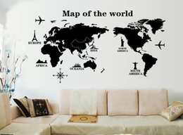 Wholesale World Map High Quality - Wall Stickers high quality PVC For Home Decoration Removable Art Mural Wallpaper for livingroom map of the world 60*90cm
