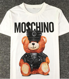Wholesale United Bears - 2017 new summer Europe and the United States fashion couple short-sleeved tide t bear printing T-shirt female loose wild lovers