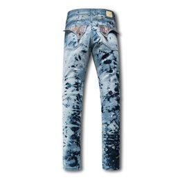 Wholesale Classic Trousers For Men - Hot sale Men Straight Jeans Classic Denim Trousers 2017 Robin Jeans For Men,High Quality Cotton Jeans Fried Snow Slim Rhinestone Decoration