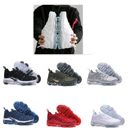Wholesale Womens Spiked Sneakers - HOT SALE 2018 red New Vapormax TN Plus VM In Metallic Olive Womens and Mens Running Designer Luxury Shoes Sneakers Brand Trainers