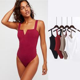 Maglie sottili online-Summer Spaghetti Strap Backless Fit Pagliaccetto Body Siamese Body Slim Skinny Tuta Tuta Undershirt Playsuit 4 colori