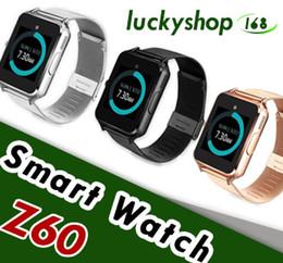 2019 smartwatch di lusso Z60 Smart Watch Bluetooth Smartwatch con supporto in acciaio inossidabile di lusso SIM e TF Card Smartwatch per IOS Android con scatola al minuto 1pz