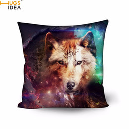 Wholesale Wolf Pillow Covers - Hugsidea Cool 3d Animal Brother Galaxy Wolf Printed Pillow Case Living Room Bed Sleep Pillow Covers 50cm *50cm Square Pillowcase