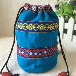 Wholesale Cloth Tea Bag - Coffee bag Cloth bag Tea Candy box Change purse Package Colorful National Drawstring Linen Cylindrical Embroider