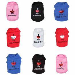 Amo la ropa de papi online-I Love My Mommy Daddy Ropa para mascotas Casual Summer Cat Chalecos para perros Práctico Soft Puppy Supplies Black Pink 9 5cy5 B