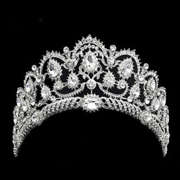 Wholesale quinceanera tiaras crowns - Hot sales Bridal Hair Accessory Baroque Crystal Rhinestone Sparkly Crown Wedding Quinceanera Tiara and Pageant headband stunning headpiece