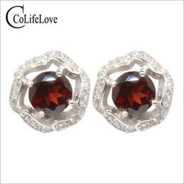 Стерлинговое вино онлайн-Wine red garnet stud earrings for weddings 2 pcs 6 mm natural garnet silver earrings 925 sterling silver fine jewelry