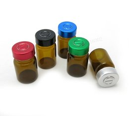 Wholesale flip bottle stoppers - 500 x 5ml Empty Small Mini Amber Brown Glass Bottles Vials Jars with Flip Off Cap Rubber Stopper