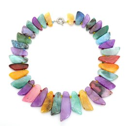 natural beaded linked chain Coupons - Natural Stone Charm Necklaces Knife Shape Natural Agate Stone Beaded Necklace 5 Colors Fashion Women Choker Jewelry Gifts