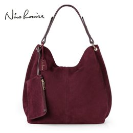 Wholesale Large Suede Handbag - Nico Louise Women Real Split Suede Leather Hobo Bag Design Female Leisure Large Shoulder Bags With Wallet Travel Casual Handbag