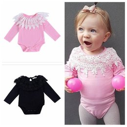 aadb99273f Baby Girls Rompers Ins Solid Pink   black Lace Crochet Collar Rompers  Infant Baby Fly Sleeve Jumpsuits Toddler Fashion Onesies YL174 onesies 3t  for sale