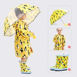 Wholesale kids summer suits - Kids Raincoats Cartoon Waterproof Girls Boy Rain Coat Hooded Galoshes Rain Boots Umbrella Matching Suit Children Poncho TIANGELTG