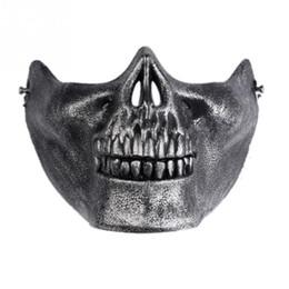 Máscaras de paintball esqueleto online-1 unids Skull Skeleton Máscaras Horror del regalo Aficionados del ejército Props Stage Airsoft Paintball Half Face máscara protectora para Halloween
