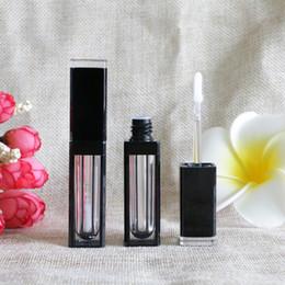 Contenedor de tubo de gel vacío online-4 ml Vaciar elegante maquillaje claro Negro labios gruesos tubos Labios Lip Gloss dormir Máscara Gel Contenedores Embalaje Botellas