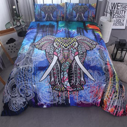 Wholesale King Size Yellow Comforter Set - 3D Elephant 3 Pcs National wind animal Duvet Cover Set With Pillowcase Retro Bedding Set King Size Luxury Soft Microfiber Quilt Cover