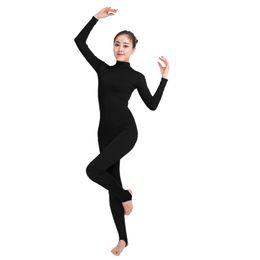 Ensnovo Womens Lycra Manica lunga Unitard Lycra Nylon Spandex Yoga Dancewear Body nudo Nero Unitards Costume per ginnastica da