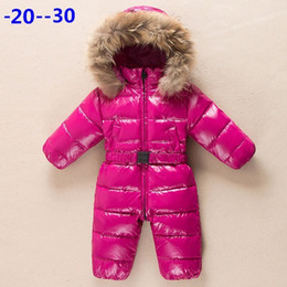 Mameluco caliente bebé online-Rusia bebé recién nacido ropa de invierno mono abrigos abrigos abrigos chaqueta para niñas ropa de bebé parka nieve desgaste mameluco