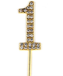 Primo compleanno del bambino / Anniversario di nozze Numero 1 Cake Topper con cristalli di strass scintillanti Lega di oro glitter / Decorazione torta di metallo da