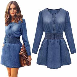 Wholesale Girl S Denim Dresses - Autumn women dresses Denim girl mini dress draped Vintage Long Sleeved Casual Jeans girl Slim denim robe femme vestidos clothing