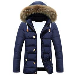 Wholesale Luxury Down Jacket Fur - 2017 Winter Ultra Light Mens Duck Down Jackets Luxury Faux Fur Hooded Coat 3XL Long Sleeve Warm Goose Down Jacket Plus Size