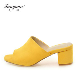 Wholesale High Heels Size 43 - 2017 Fanyuan Female Slippers Flock Sandals Summer Shoes Women Mules Ladies Flip Flops Pink High Heeled Slides Shoes Plus size 43