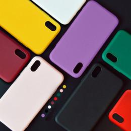 iphone rojo negro funda silicona Rebajas Funda de silicona blanda negra para Iphone Xr Funda Contraportada Iphone Rojo Sólido Protección a prueba de golpes Fundas Iphone 8 Plus Funda Rosa