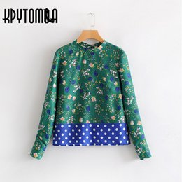 feac5e3ed3 Vintage Polka Dots Floral Print Patchwork Shirts Women 2018 New Fashion  Back Bow Tie Long Sleeve Blouses Casual Blusas Mujer discount polka dot  sleeve bow ...