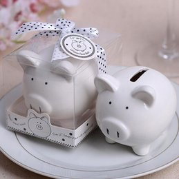 Wholesale Shower Favor Box - Baby shower favors Ceramic Mini Piggy Bank in Gift Box with Polka-Dot Bow Wedding Favors and gifts 100Pcs