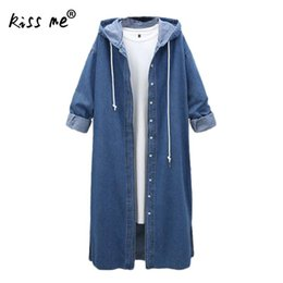 a0f7574ccca Denim Trench Coat For Women Plus Size Hooded Fashion Ladies Long Trench  Outerwear Slim Female Long Coat Side Vents Windbreaker vintage denim trench  coat for ...