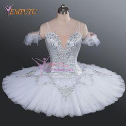 2019 figurinos de ballet clássico Silver White Adult Women Tutus de Panqueca de Tutu profissional Coppelia Classical Ballet Stage Traje Desempenho Tutu Vestido Mulheres desconto figurinos de ballet clássico