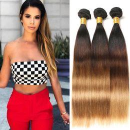 2019 estensioni dei capelli peruviani da 12 pollici ombre 3 toni di capelli lisci peruviani 3 fasci fasci di tessuto 100% capelli umani 8-26 pollici estensioni di capelli remy T1B / 4/27 estensioni dei capelli peruviani da 12 pollici ombre economici