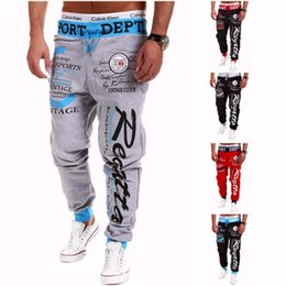 Wholesale plus size active wear - Trousers 2016 Hot Sale Baggy Mens Letter Printing Baggy Harem Cool Long Pants Joggers Wear 21 Styles Plus Size M -Xxxl Drawstring