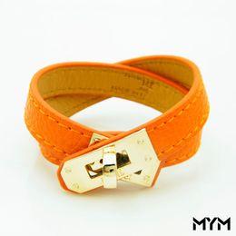 braccialetto di fascino piatto Sconti Bracciale in pelle a più strati vintage H Bracciali per donna Bracciali a conchiglia Uomo fibbia in oro Wristband Pulseras Hombre Accessori maschili Gioielli