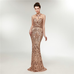 Wholesale sexy clothing models - Luxurious Sparkling Prom Dress round neck perspective sequins mermaid evening dress party dress stage performance clothing