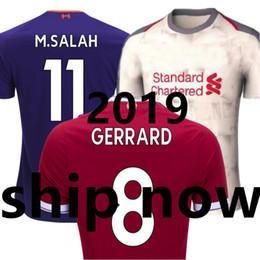 cea719111cb80 Camiseta de fútbol New 2018 liverpool 2019 Soccer Jersey liverpooling 18 19  Home Red Away White Pueple GERRARD LALLANA SALAH MANE Camiseta Camisas  Maillot ...