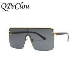a7c9f4aa75d QPeClou New Brand Big One Piece Sun Glasses Women 2018 Oversized Square  Sunglasses Men Black Lens Eyeglasses Female Oculos UV400